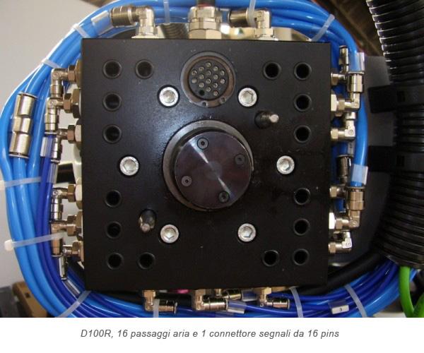 Cambio pinza Quadrax D100R, 16 passaggi aria e 1 connettore segnali da 16 pins