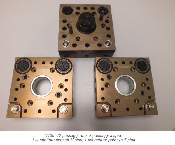 Cambio pinza Quadrax D100, 12 passaggi aria, 2 passaggi acqua, 1 connettore segnali 16pins, 1 connettore potenza 7 pins